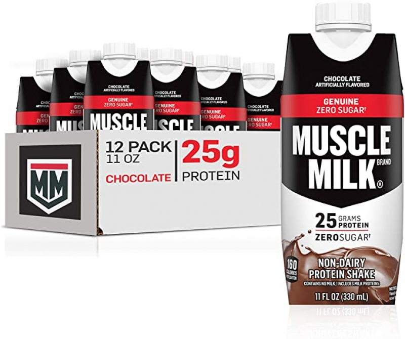 ihocon: Muscle Milk Genuine Protein Shake, Chocolate, 25g Protein, 11 Fl Oz (Pack of 12) 巧克力口味蛋白質奶昔