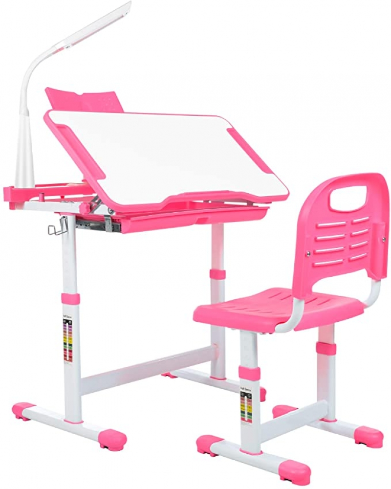 ihocon: Aussumy Kids Desk & Chair Set 兒童可調高度桌椅, 含LED桌燈