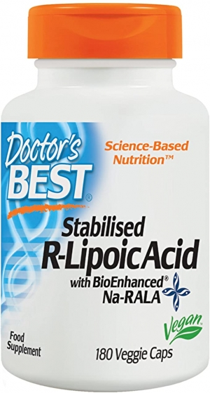 ihocon: Doctor's Best Stabilized R-Lipoic Acid with BioEnhanced Na-RALA, 100 mg 180 Veggie Caps 硫辛酸