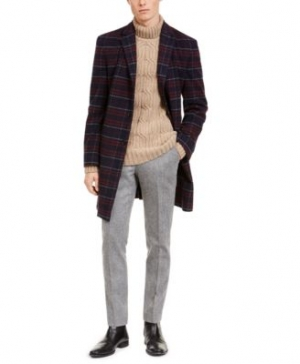 ihocon: Tommy Hilfiger Men's Modern-Fit Performance Stretch Flex Plaid Addison Overcoat 男士大衣 - 2色可選