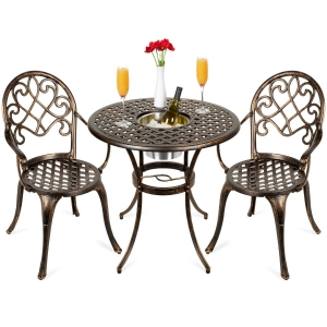 ihocon: Best Choice Products Cast Aluminum Patio Bistro Set w/ Ice Bucket, Chairs, Copper Finish 庭園冰桶桌椅組