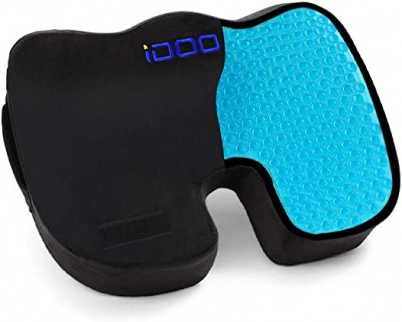ihocon: iDOO Coccyx Orthopedic Cooling Gel Seat Cushion (Black)凝膠記憶棉椅墊