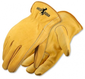 ihocon: Galeton 2500-M Elastic Back Rough Rider Premium Leather Gloves (Pack of 12), Medium, Gold  工作皮手套