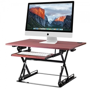 ihocon: Halter ED-257 Preassembled Height Adjustable Desk Sit/Stand Elevating Desktop with Built-in Cable Management - Cherry 可調高度電腦升高架