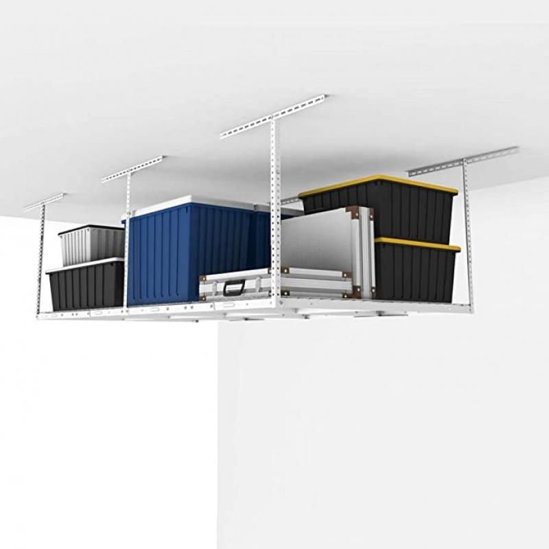 ihocon: FLEXIMOUNTS 4x8 Overhead Garage Storage Rack, 96 Length x 48 Width x (22.5''-40 Ceiling Dropdown 車庫天花板置物架