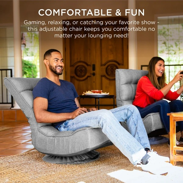 ihocon: Best Choice Products Folding Floor Gaming Chair w/ 360-Degree Swivel, 4 Adjustable Positions 可折疊360度旋轉地板遊戲椅