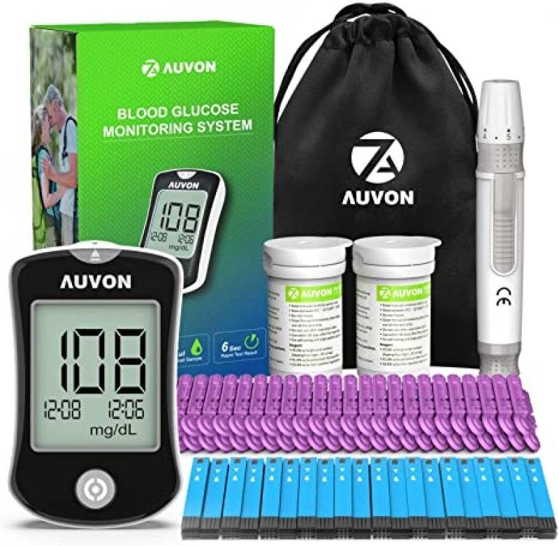 ihocon: AUVON DS-W Blood Sugar Test Kit (100 Test Strips, 100 30G Lancets) 血糖測試儀(含試紙)