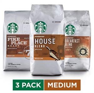 ihocon: Starbucks Medium Roast Ground Coffee Variety Pack, 12 Ounce (Pack of 3) 星巴克研磨咖啡粉