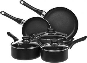 ihocon: [4.5星, 4千多個評價] AmazonBasics 8-Piece Non-Stick Kitchen Cookware Set不黏鍋組