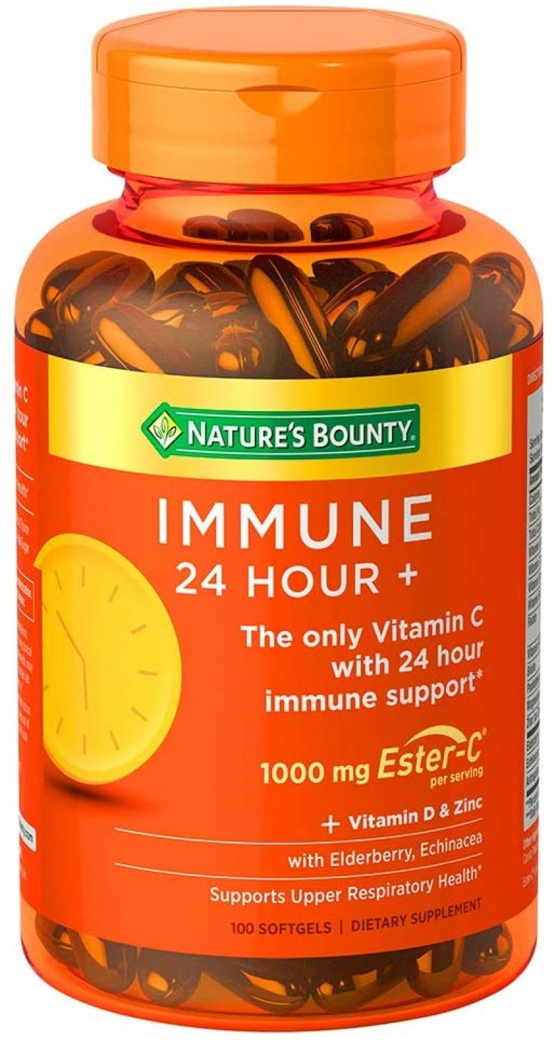 ihocon: Nature's Bounty Immune 24 Hour +, 24 Hour Immune Support from Ester C, 100 Rapid Release Softgels, 100 Count  免疫力強化