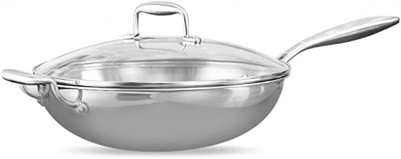 ihocon: DIZISLI Stainless Steel Frying Pan (32cm) 不銹鋼含蓋炒鍋