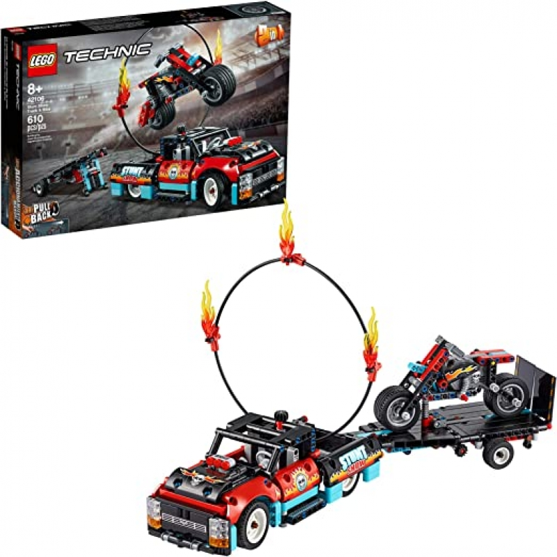 ihocon: [2020新款] 樂高LEGO Technic Stunt Show Truck & Bike 42106; Includes Stunt Motorcycle, Toy Truck and Trailer, New 2020 (610 Pieces)