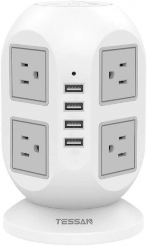 ihocon: Power Strip Tower TESSAN Surge Protector 8 AC Outlets with 4 USB Ports Charging Station 電湧保護延長線插座, 含8個插座及4個USB插槽, 10呎電線