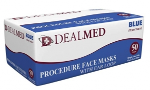 ihocon: Dealmed Disposable Face Masks with Ear Loops, Ideal for Dental and Allergy Purposes, Blue, 50 count 口罩