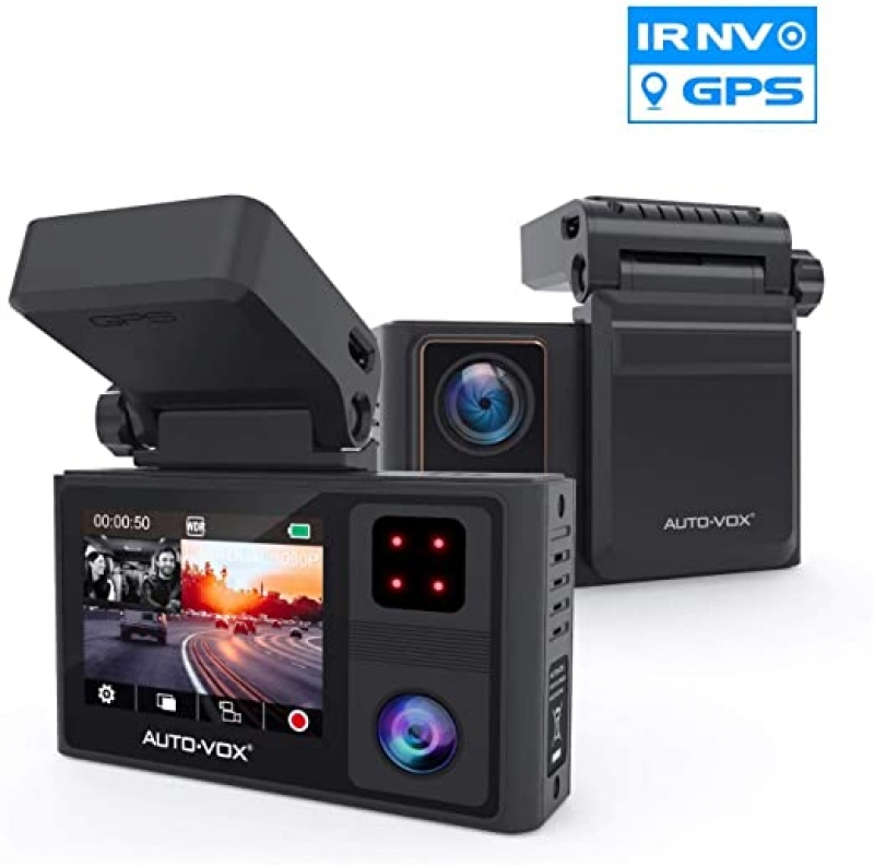 ihocon: Auto-Vox Aurora 1920x1080p FHD Dual Dashboard Camera with Built-in GPS and Infrared Night Vision 雙鏡頭行車記錄器
