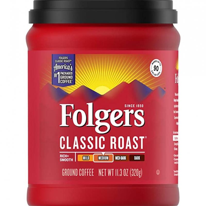 ihocon: Folgers Classic Roast, Medium Roast, Ground Coffee, 11.3 oz 中度烘焙研磨咖啡粉