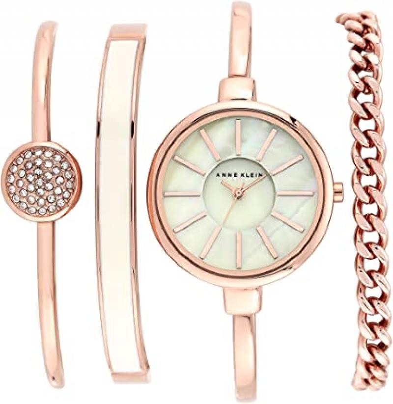 ihocon: Anne Klein Women's Bangle Watch and Swarovski Crystal Bracelet Set 施華洛世奇水晶手錶及手鍊套裝