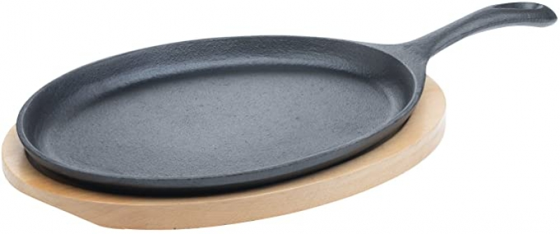 ihocon: Tabletops Basic Essentials Pre Seasoned Cast Iron Cookware, 2 Piece 9.5 鑄鐵盤及木墊