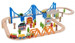 ihocon: Spark. Create. Imagine. Wooden Train Play Set, 75 Pieces 木製火車組