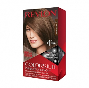 ihocon: Revlon Colorsilk Beautiful Color, Permanent Hair Dye with Keratin, 100% Gray Coverage, Ammonia Free, 41 Medium Brown 露華濃染髮劑