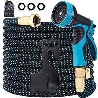 ihocon: LOOHUU Garden Hose Expandable Kit 100 Feet Water Hose with 10 Function Spray Nozzle 伸縮澆花水管, 含噴水頭