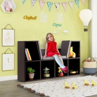 ihocon: 6-Cubby Kid Storage Bookcase Cushioned Reading Nook