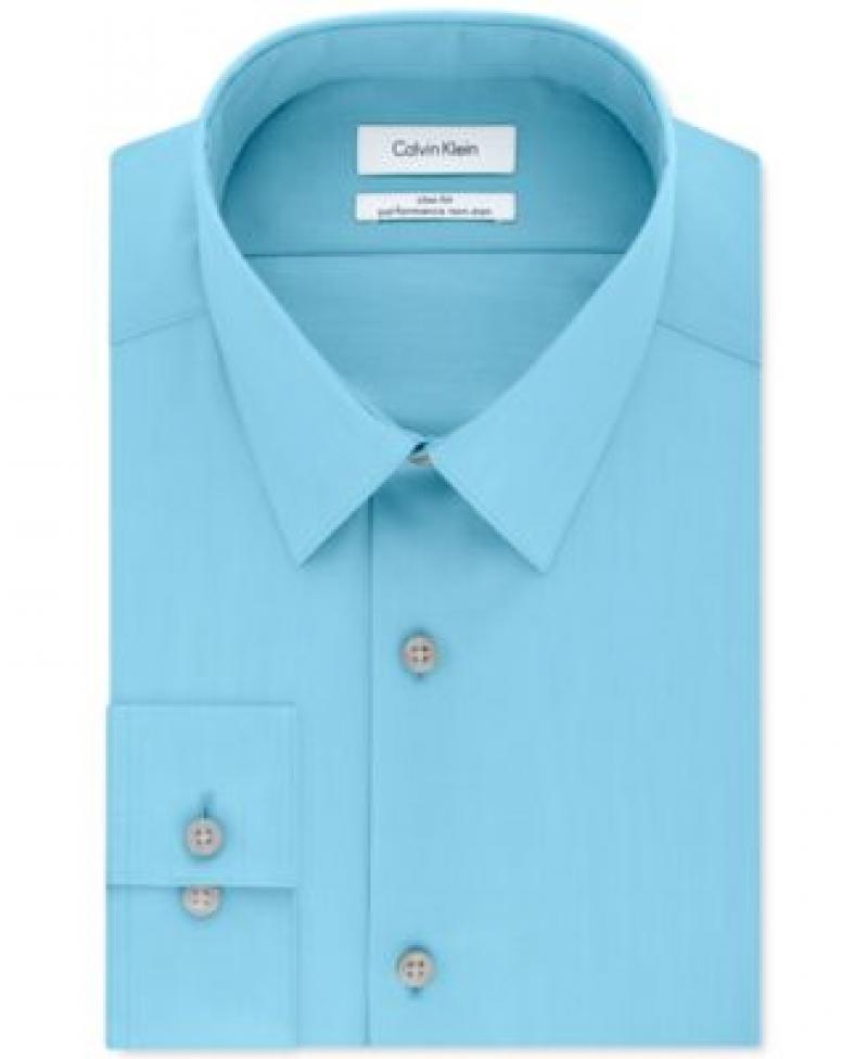 ihocon: Calvin Klein Steel Men's Slim Fit Non Iron Performance Herringbone Point Collar Dress Shirt 男士免熨襯衫