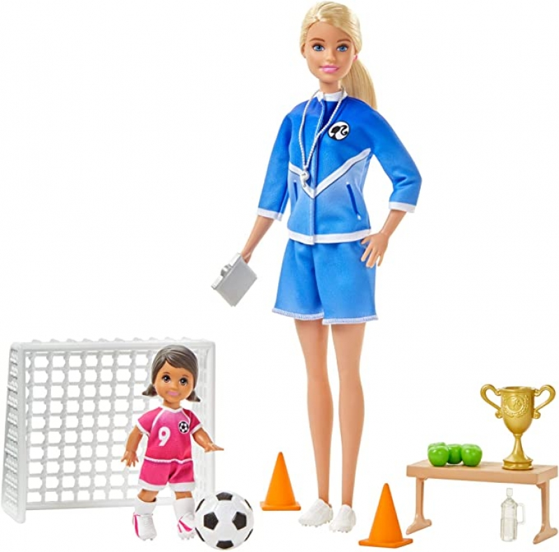 ihocon: Barbie Soccer Coach Playset with Blonde Soccer Coach Doll, Student Doll and Accessories 芭比娃娃