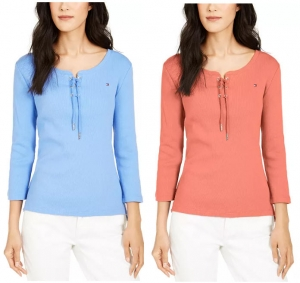 Tommy Hilfiger 女士100% 純棉長袖衫 – 多色可選 $19.99(原價$49.50)
