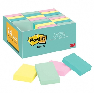 ihocon: Post-it Notes, 24 Pads/Pack, 1 3/8 in. x 1 7/8 in, Marseille Colors 便利貼