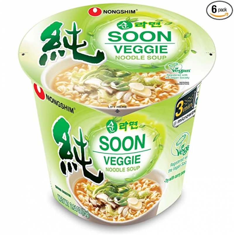 ihocon: Nongshim Soon Cup Noodle Soup, Veggie, 2.6 Ounce (Pack of 6) 韓國素食杯麵