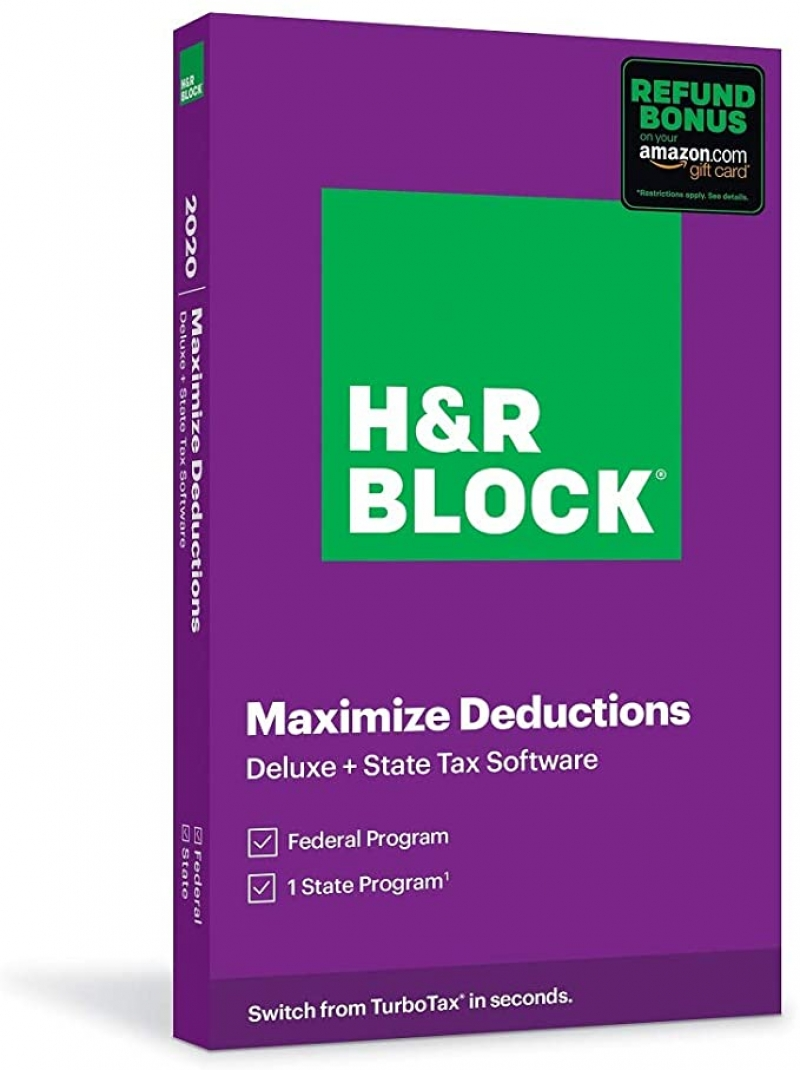 ihocon: 報稅軟體H&R Block Tax Software Deluxe + State 2020 with Refund Bonus