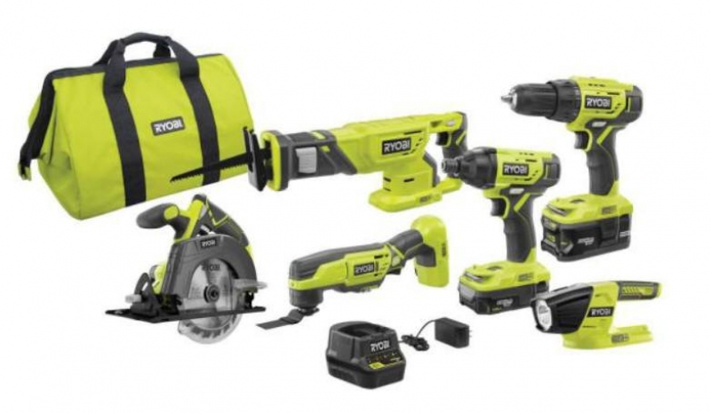 ihocon: RYOBI 18-Volt ONE+ Lithium-Ion Cordless 6-Tool Combo Kit with (2) Batteries, Charger, and Bag 無線電動工具+電池+充電器+收納包