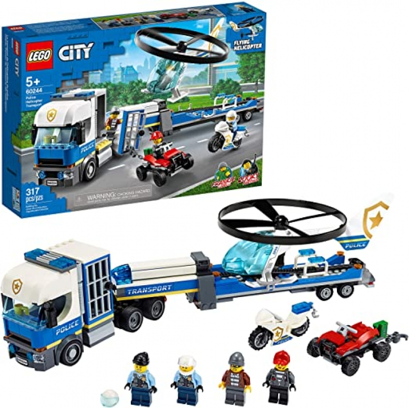 ihocon: [2020新款] LEGO City Police Helicopter Transport 60244 Police Toy, Cool Building Set for Kids, New 2020 (317 Pieces) 樂高城市警察直升機運輸車