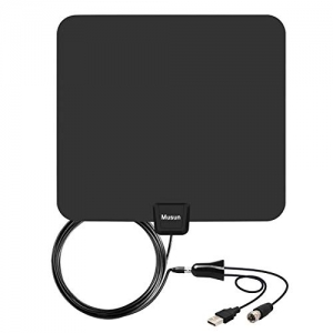 ihocon: Musun Amplified HD Digital TV Antenna with Detachable Signal Amplifier and 13.3ft Longer Coax Cable, 60-95 Mile Range 室內天線