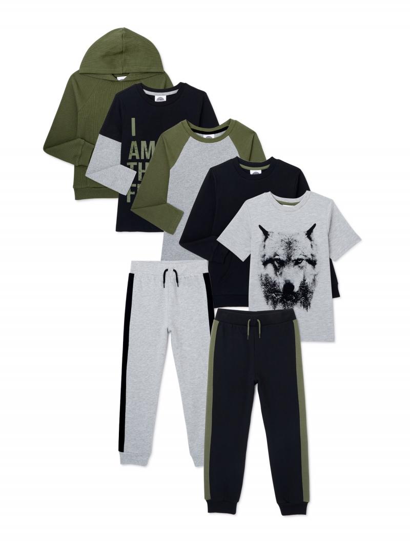 ihocon: Off Campus Boys 100% Cotton 7-Piece Outfit Set 男童純棉短袖,長袖衫及長褲共7件