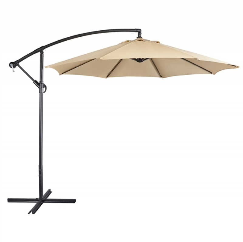 ihocon: SmileMart 9 Ft Patio Offset Umbrella Hanging Cantilever Umbrella with Crank & Cross Base Outdoor遮陽大傘