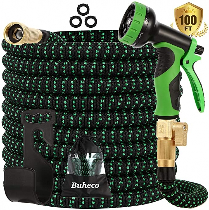 ihocon: Buheco Expandable Garden Hose 100ft-Water hose with 9 Function Spray Nozzle伸縮澆花水管, 含噴水頭