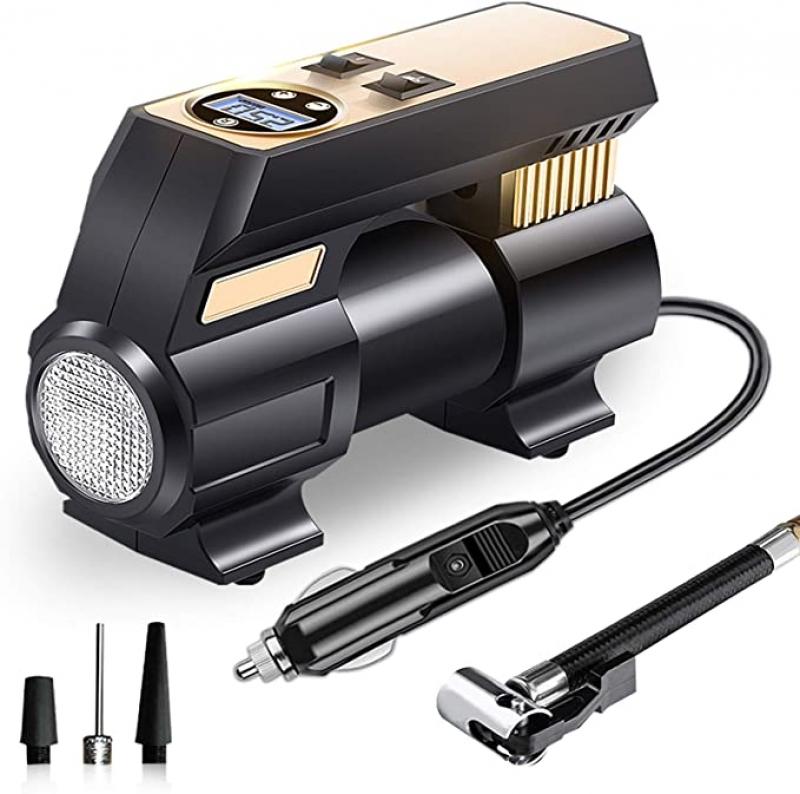 ihocon: UPFOX Air Compressor Pump 12V DC Portable Digital Tire Inflator汽車電動打氣機