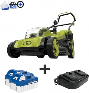 ihocon: Sun Joe 17 in. 48-Volt iON+ Cordless Electric Walk Behind Push Lawn Mower Kit with 2 x 4.0 Ah Batteries Plus Charger 無線電動除草機, 含電池和充電器