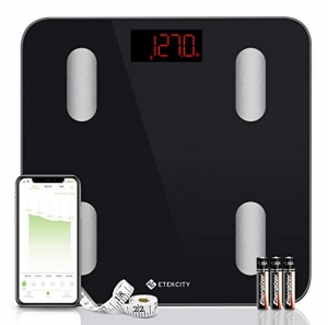 ihocon: Etekcity Smart Body Fat Scale, Tracks 13 Key Compositions Analyzer, 6mm-Thick Glass, Sync with Fitbit, Apple Health and Google Fit智能體脂體重秤