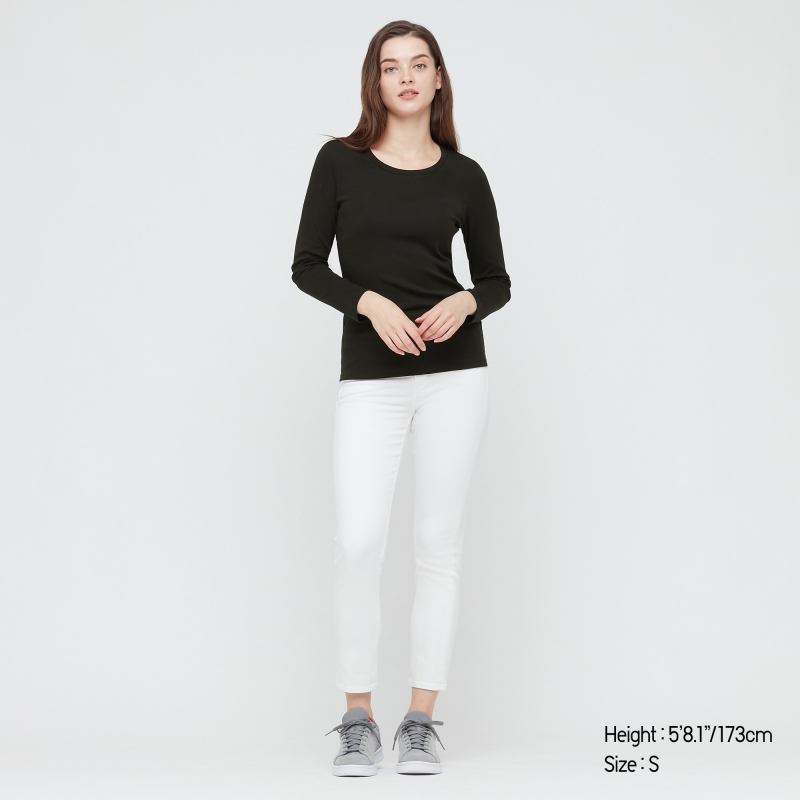 ihocon: UNIQLO WOMEN STRETCH COTTON CREW NECK LONG-SLEEVE T-SHIRT 女士長袖衫-多色可選