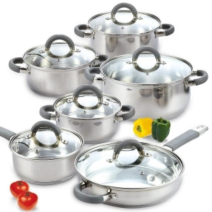 ihocon: Cook N Home 12-Piece Silver Cookware Set with Lids 不銹鋼鍋組