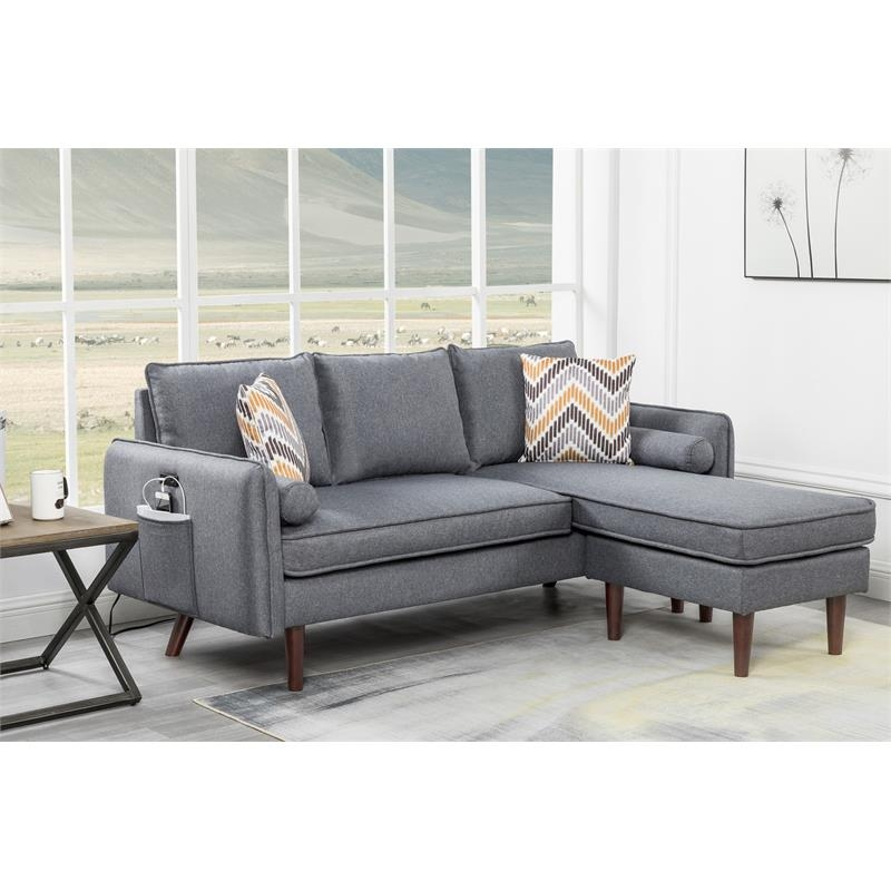 ihocon: Lilola Home Mia Fabric Sectional Reversible Chaise with Pillows 沙發
