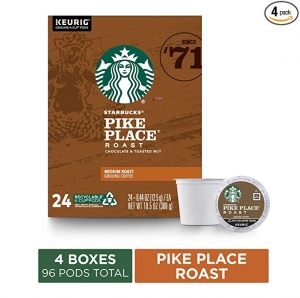 ihocon: Starbucks Pike Place Roast Coffee K-Cup Pods | Medium Roast | Coffee Pods for Keurig Brewers | 4 Boxes (96 Pods) 咖啡膠囊