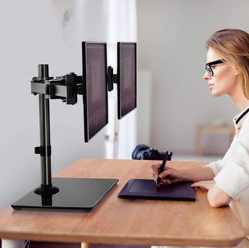 ihocon: Huanuo Standing Height Adjustable Dual Arm Monitor Mount 雙螢幕支架
