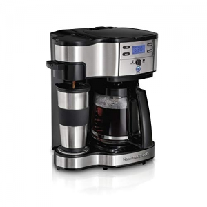 ihocon: Hamilton Beach 49980A 2-Way Brewer Coffee Maker, Single-Serve with 12-Cup Carafe, Stainless Steel  單杯配12杯玻璃水瓶咖啡機