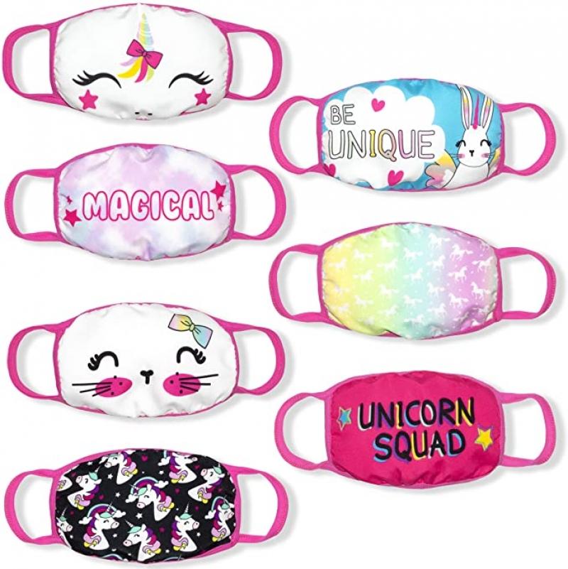 ihocon: Nannette 7 Pieces Girls Reusable Cotton Fabric Face Mask 可重複使用純棉布口罩