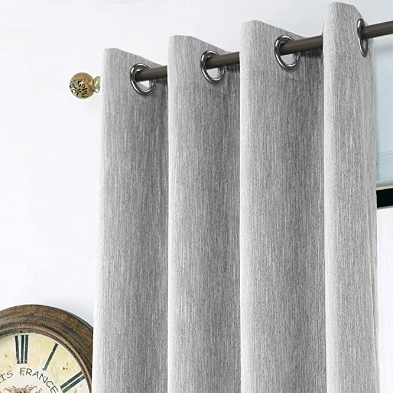 ihocon: Melodieux Elegant Cotton Room Darkening Blackout Curtains, 52 by 84 Inch, Grey (1 Panel) 遮光窗簾