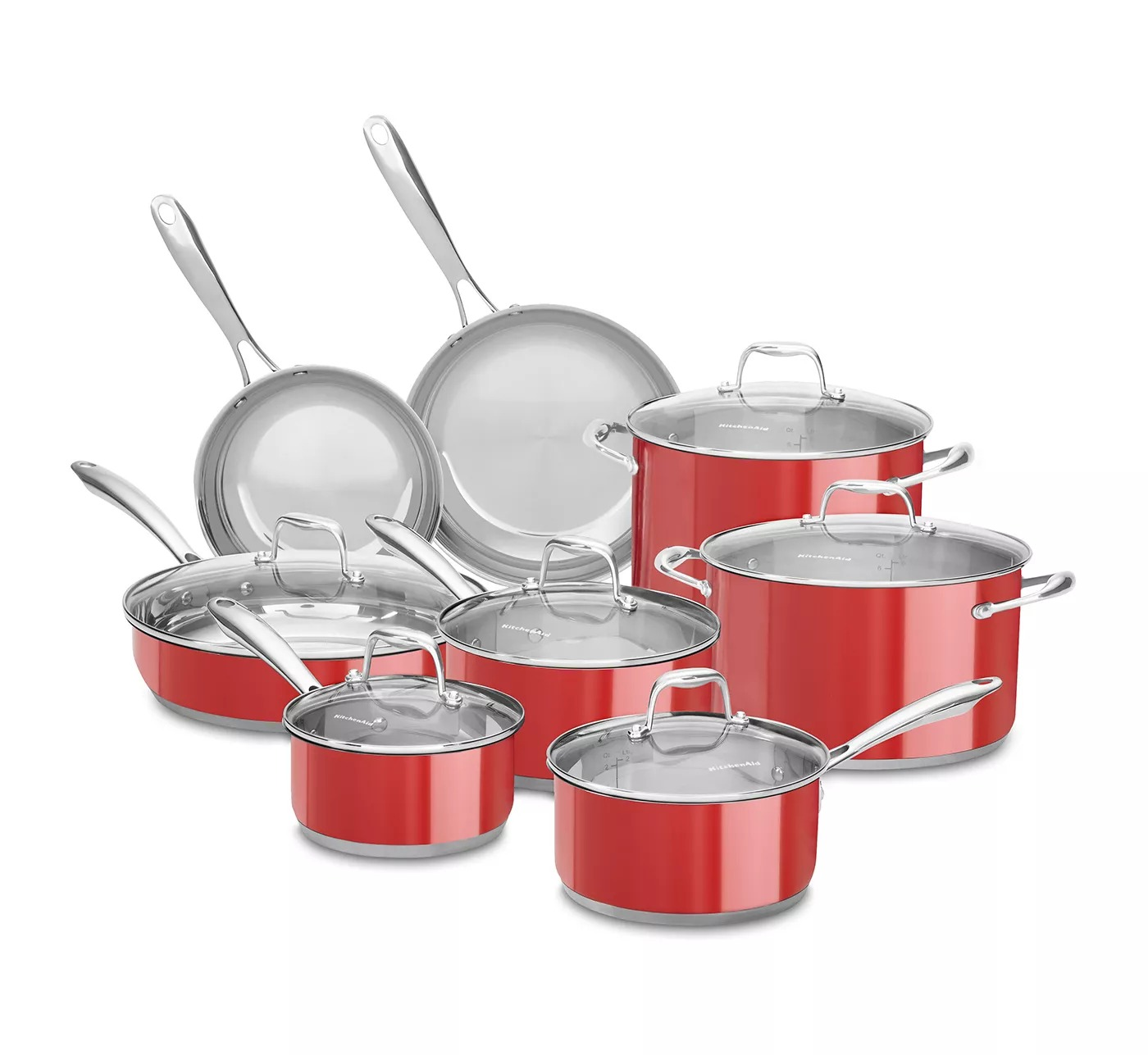 ihocon: KitchenAid 14pc Cookware Set with Glass Lids - Stainless Steel 不銹鋼鍋組